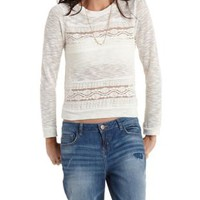 Sheer Lace & Slub Knit Sweatshirt by Charlotte Russe