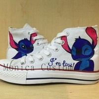 DCCK1IN lilo stitch custom converse converse sneakers hand painted on converse shoes canv