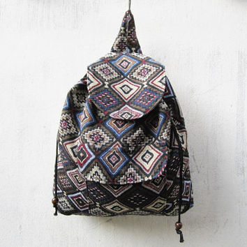 boho tribal backpack, bohemian rucksack, aztec ikat backpack, geometric indian bag, hipster backpack, hippie boho  bag B023