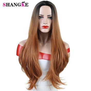 Long Straight Wavy Ombre Brown Middle Part Wigs