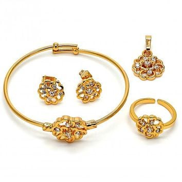 Gold Layered 06.228.0001 Earring and Pendant Children Set, Flower Design, with White Crystal, Polished Finish, Gold Tone