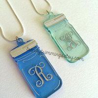 Surcee Jar™ Necklace- Mason Jar & Single Letter Monogram- Pendant with Chain, Green or Blue- southern style for any occasion, wedding party