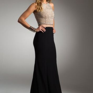 Two-Tone Beaded Bodice Two-Piece