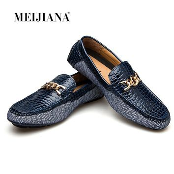 MEIJIANA 2018 Genuine Leather Driving Male Loafers Shoes For Men Brand Casual Boat Men Shoes+