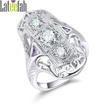 Lateefah Vintage Luxury Jewelry Ring Hollow Filigree White Gold Color Clear Cubic Zirconia Engagement Wedding Ring Anel Bague