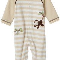 Little Me Layette Footie, Monkey Stripe, Ivory $10.95