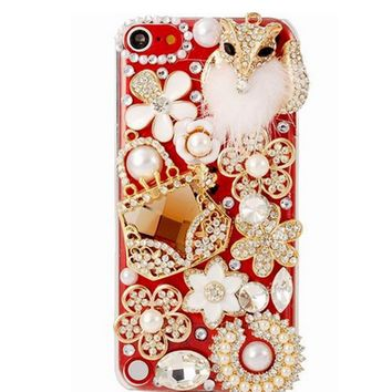 iPod Touch 5 - Foxy Pearl & Gem 3D Bling on Clear Case