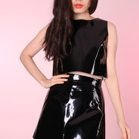 Glitters For Dinner — Made To Order - Black PVC Motel 2 Piece Set