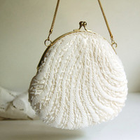 Vintage Purse Beaded Purse White or Ivory from by CalloohCallay