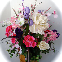 Silk Floral Easter Themed Arrangement Centerpiece in Pinks and Purple in Real Wood Basket
