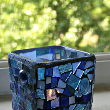Etsy Mosaic Blue Stained Glass Candle Holder Vase Home Decor Gift Ideas Hostess 3.5 inches