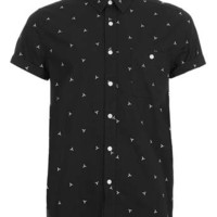Black White Geometric Embroidery Short Sleeve Shirt - Men's Shirts - Clothing