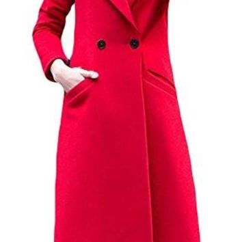 Pandapang Womens Slim Trench Coat Double Breasted Lapel Wool Blend Outwear