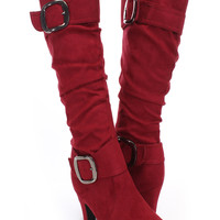 Wine Red Faux Suede Slouchy Buckle Heel Boots