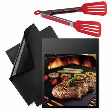 3Pcs/set Reusable Non-stick BBQ Grill Mat & Stainless Steel Plastic Cover Handle BBQ Tongs Clip BBQ Accessories Kitchen Tools
