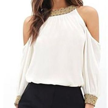 High Neck Cold Shoulder Blouse