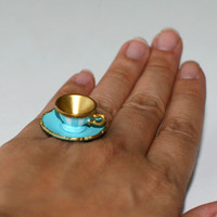 Kawaii Cute Miniature Food Ring - Light Blue Teacup and Saucer