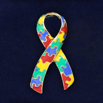 Autism and Aspergers Ribbon Pins - Large Ribbon