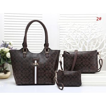 COACH Fashion New Pattern Leather Shopping Leisure Shoulder Bag Handbag Three Piece Suit Bag Women 2#