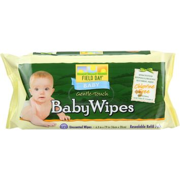 Field Day Baby Wipes - Refill For Tub - 72 Count - Case Of 12