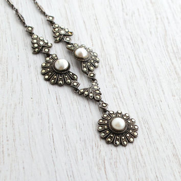Antique Sterling Silver Marcasite & Faux Pearl Necklace - Vintage 1930s Art Deco Jewelry / Y Necklace