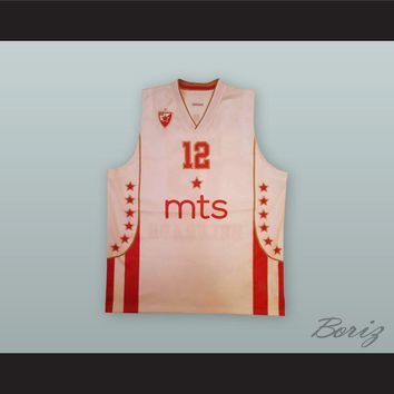 Boris Simanic 12 Red Star Belgrade White Basketball Jersey