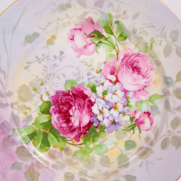 Antique C AHRENFELDT France Depose Limoges Plate Platter Pink Roses Hand Painted