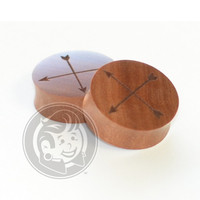 Crossed Arrows Engraved Wood Plugs