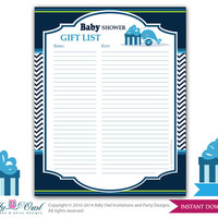Boy Whale Guest Gift List , Guest Sign in Sheet Card for Baby shower, birthday  Whale  DIY Blue Chevron- oz08bs53