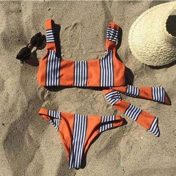 Sexy Women Black White Fine Stripe Orange Print Back Knot Two Piece Bikini Swimsuit Bathing