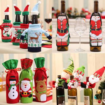 Christmas Wine Beer Champagne Bottle Decor Santa Claus Snowman Deer Bottle Cover for New Year Xmas Home Party Dinner Table Decor