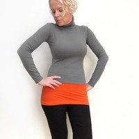 Orange grey turtleneck womens tunic top color block sweater