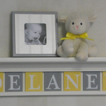 "Yellow Gray Nursery Wall Art Grey Yellow Baby Nursery Decor - Custom for DELANEY - Personalized 30"" Wood Shelf Sign 7 Wood Wall Letters"