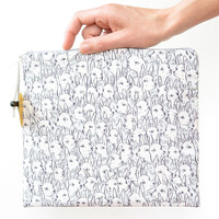 Deer Garden Large Flat Fold-Over Zipper Pouch / Clutch