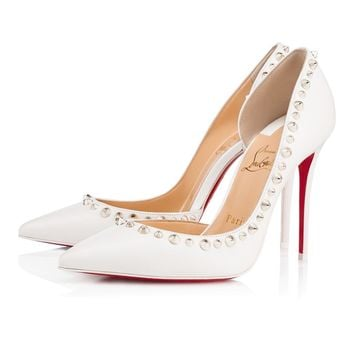 Christian Louboutin Cl Irishell Vers Latte/white Gold Leather 18s Bridal 1180654h190 -