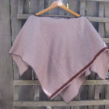Funky Mocha Brown Upcycled Wool Blend Hippie Poncho Cape Cover Up/Asymmetrical Eco Shawl Capelet One Size