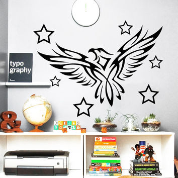 Eagle Wall Decals Night Bird Vinyl Sticker Stars Decal Interior Design Living Room Home Art Mural Kids Nursery Room Bedding Decor MR415