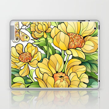Yellow Flowers Laptop & iPad Skin by MIKART