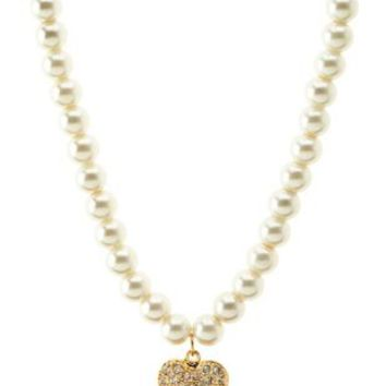 Rhinestone Heart & Pearl Pendant Necklace by Charlotte Russe - Gold