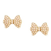 Gold Pearl Bow Studs
