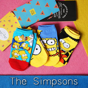35-40 CARTON Simpson contrast color Girlish Sporty combination Homer Jay Bart Lisa Marge Socks films SUPER CUTE MINI