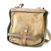 SWISS ARMY Bread Bag 1943, Military WW2 Crossover Messenger Bag, Haversack, Pannier, Canvas Leather Bag, Fishing, Made in Switzerland