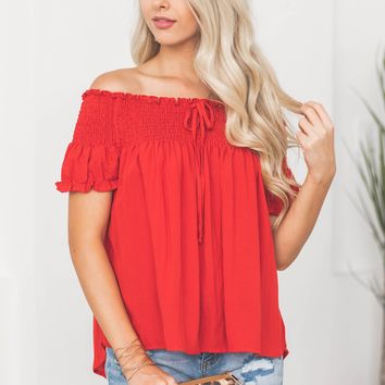 Elastic Band Off Shoulder Top
