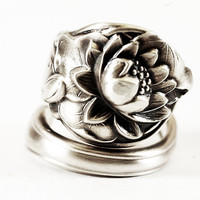 Unique Lotus Blossom Sterling Silver Spoon Ring in Watson Co Pond Lily Pattern of 1903, Handmade in Your Size (2198)