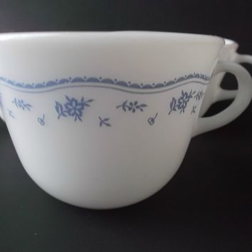 Pyrex Corning Vintage Morning Blue White Glass Cups Coffee Tea