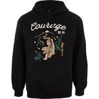 Black 'courage' tiger embroidery print hoodie - Hoodies - Hoodies & Sweatshirts - men
