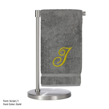 Monogrammed Bath Towel, Personalized Gift, 27 x 54 Inches - Set of 2 - Gold Script Embroidered Towel - 100% Turkish Cotton - Soft Terry Finish - For Bathroom, or Spa - Script I Gray Towels