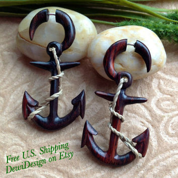 """Fake Gauge Earrings, """"Nautical Anchor"""" Hand Carved, Sono Wood, Naturally Organic, Tribal"""