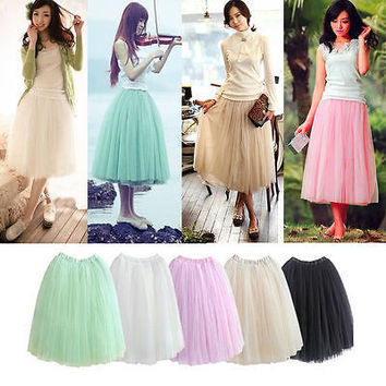 Adults Teens Women 5 Layers Tulle Tutu Skirts Princess Petticoat Skirts