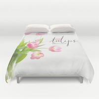 Pink tulips Duvet Cover by Sylvia Cook Photography